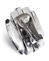 Iosselliani | Metallic Decò Crystal Clip Earrings | Lyst