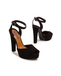Ralph Lauren | Black Valeria Suede Sandal | Lyst