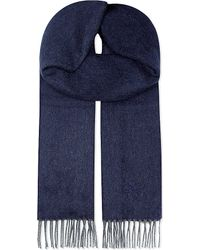 Canali | Blue Cashmere Logo Scarf for Men | Lyst