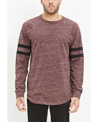 Forever 21 | Purple Striped-sleeve Heathered Top for Men | Lyst