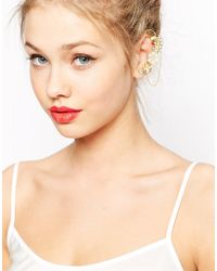 ASOS | Metallic Statement Ear Cuff With Embellished Flowers And Chain | Lyst
