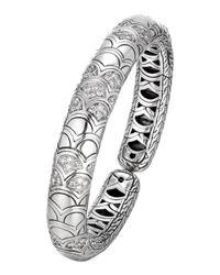 John Hardy | Metallic Naga Silver Slim Flex Cuff With Diamonds | Lyst