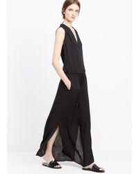 Vince - Black Silk Shirred Shoulder V-neck Maxi Dress - Lyst