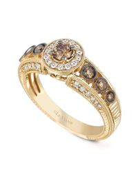 Le Vian - Metallic White And Chocolate Diamond Engagement Ring (7/8 Ct. T.w.) In 14k Gold - Lyst