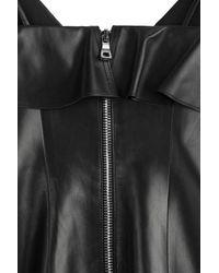 Balmain | Draped Leather Mini-dress - Black | Lyst