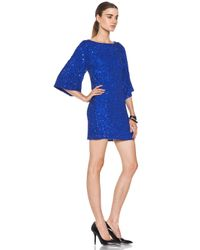 Alice + Olivia   Blue Lari Bell Sleeve Sequin Tunic Dress in Cobalt   Lyst