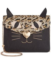 Betsey Johnson | Black Sequin Cat Clutch | Lyst