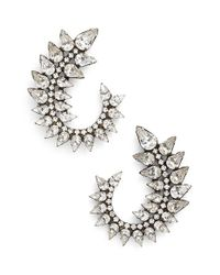 DANNIJO | Metallic 'arabella' Drop Earrings - Clear Crystal/ Silver | Lyst