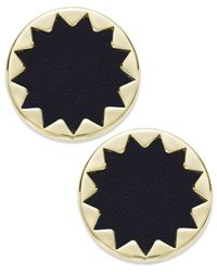 House of Harlow 1960 | Metallic Gold-tone And Black Leather Sunburst Button Post Earrings | Lyst