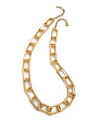 Kenneth Jay Lane | Metallic Rectangle Link Necklace - Gold | Lyst