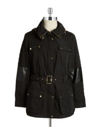 Calvin Klein - Black Plus Belted Quilted Coat - Lyst