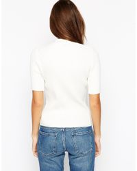 ASOS - White Exclusive High Neck Top In Lighweight Summer Knit - Lyst