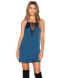 Band Of Gypsies - Blue Lace Insert Mini Dress - Lyst