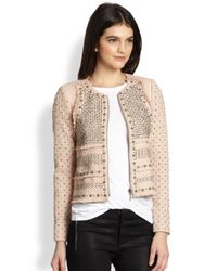 Rebecca Taylor | Natural Studded Leatherpaneled Tweed Jacket | Lyst
