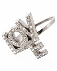 Saint Laurent   Metallic 'love' Ring   Lyst