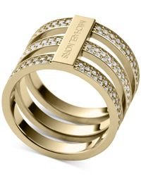 Michael Kors | Metallic Clear Pavé Tri-Stack Ring | Lyst