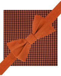 Tommy Hilfiger | Orange Solid To-tie Bow Tie And Gingham Pocket Square Set for Men | Lyst