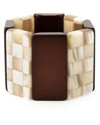 Giorgio Armani | Brown Checkerboard Contrast Cuff | Lyst