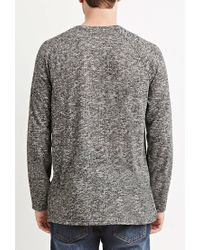Forever 21 - Black Marled Knit Pocket Tee You've Been Added To The Waitlist for Men - Lyst