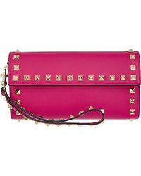 Valentino | Rockstud Leather Clutch, Women's, Pink | Lyst