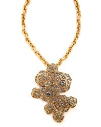 Oscar de la Renta - Metallic Rose Pave Brooch Necklace Black Diamond - Lyst