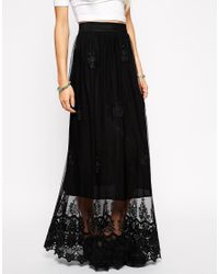 cd23c4c64e ASOS Embroidered Maxi Skirt In Lace in Black - Lyst