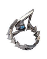 Nikos Koulis - Gray Geometric Sapphire And Diamond Ring - Lyst
