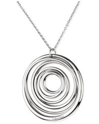 Calvin Klein | Gray Ck Stainless Steel Polished Circle Pendant Necklace | Lyst