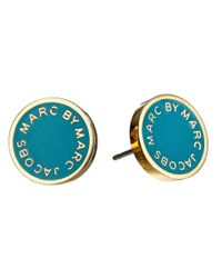 Marc By Marc Jacobs | Green Enamel Logo Disc Studs Earring | Lyst