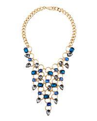 Fragments | Blue Crystal Bib Necklace | Lyst