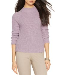 Lauren by Ralph Lauren | Purple Ribbed Merino Wool Sweater | Lyst