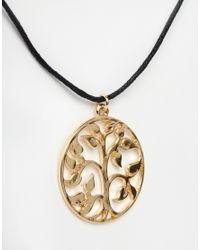 ASOS | Metallic Golden Tree Of Life Choker Necklace | Lyst