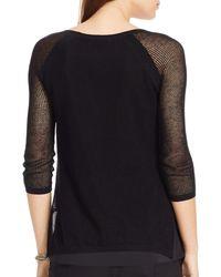 Ralph Lauren | Black Lauren Petites Linen-blend Mesh Sweater | Lyst