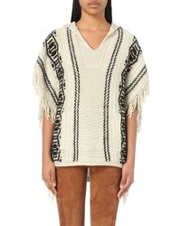 Closed | White Patterned Knitted Poncho | Lyst