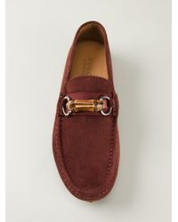 Gucci | Red Bamboo Detail Loafers | Lyst