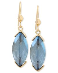 Kenneth Cole - Gold-tone Blue Crystal Marquise Drop Earrings - Lyst