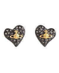 Vivienne Westwood Anglomania | Black Crystal Embellished Heart Stud Earrings | Lyst