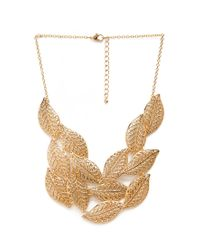 Forever 21 - Metallic Cascading Leaves Bib Necklace - Lyst
