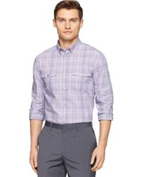 Calvin Klein | Purple Modern Fit End On End Plaid Check Sportshirt for Men | Lyst