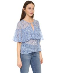 Rebecca Taylor Multicolor Short Sleeve Shibori Ruffle Blouse