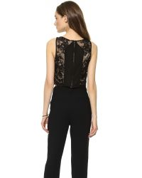 Alice + Olivia - Black Cropped Lace Tank - Lyst