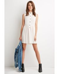 Forever 21 | Natural Buttoned Crepe Collared Dress | Lyst