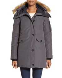 Vince Camuto | Gray Detachable-Ruff Quilted Parka | Lyst