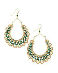 Nakamol - Green Scallop-beaded Horseshoe Drop Earrings - Lyst