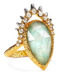 Alexis Bittar - Green Crystal Studded Spur Framed Amazonite Ring - Lyst