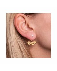 Leivan Kash - Metallic Rose Ear Jacket Gold - Lyst