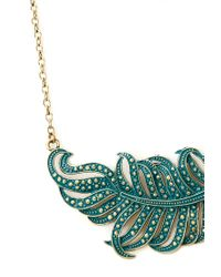 Forever 21 - Green Down To Earth Feather Necklace - Lyst