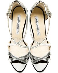 Brian Atwood | Metallic Silver Patent Leather Heeled Sandals | Lyst