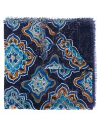 Kiton - Blue Paisley Print Scarf for Men - Lyst