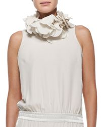 Brunello Cucinelli | White Silk Petal Collar Necklace | Lyst